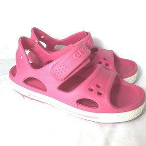 Crocs Girls Sandals Size 1 Pink Straps Open Toes
